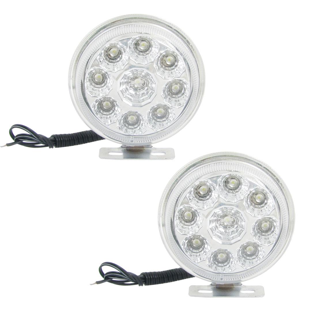 Unique Bargains 2 x Car 2 x 0.96W White 9 LED Round Daytime Running Light 12V