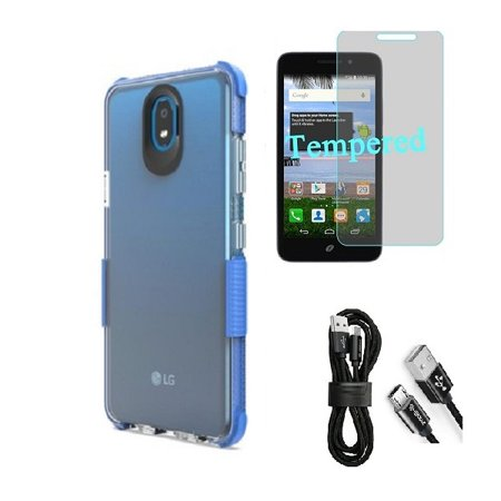 Compatible Case for Straight Talk LG Journey Smartphone / LG Journey /LG Arena 2 / LG K30 (2019) LM-X320 / LG Escape Plus, Clear TPU Case with Shock Edge + Cable (Clear- Blue + Tempered