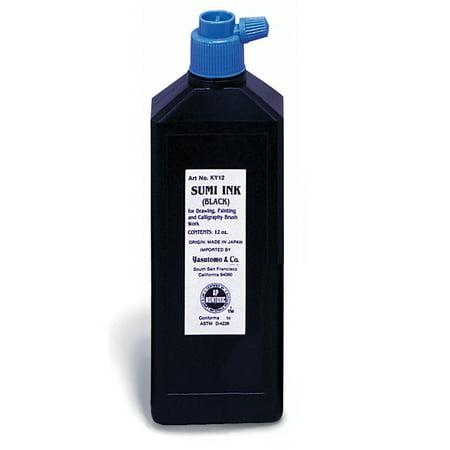 Classic Liquid Ink (Yasutomo Liquid Sumi Ink, Black Gloss, 12 oz.)
