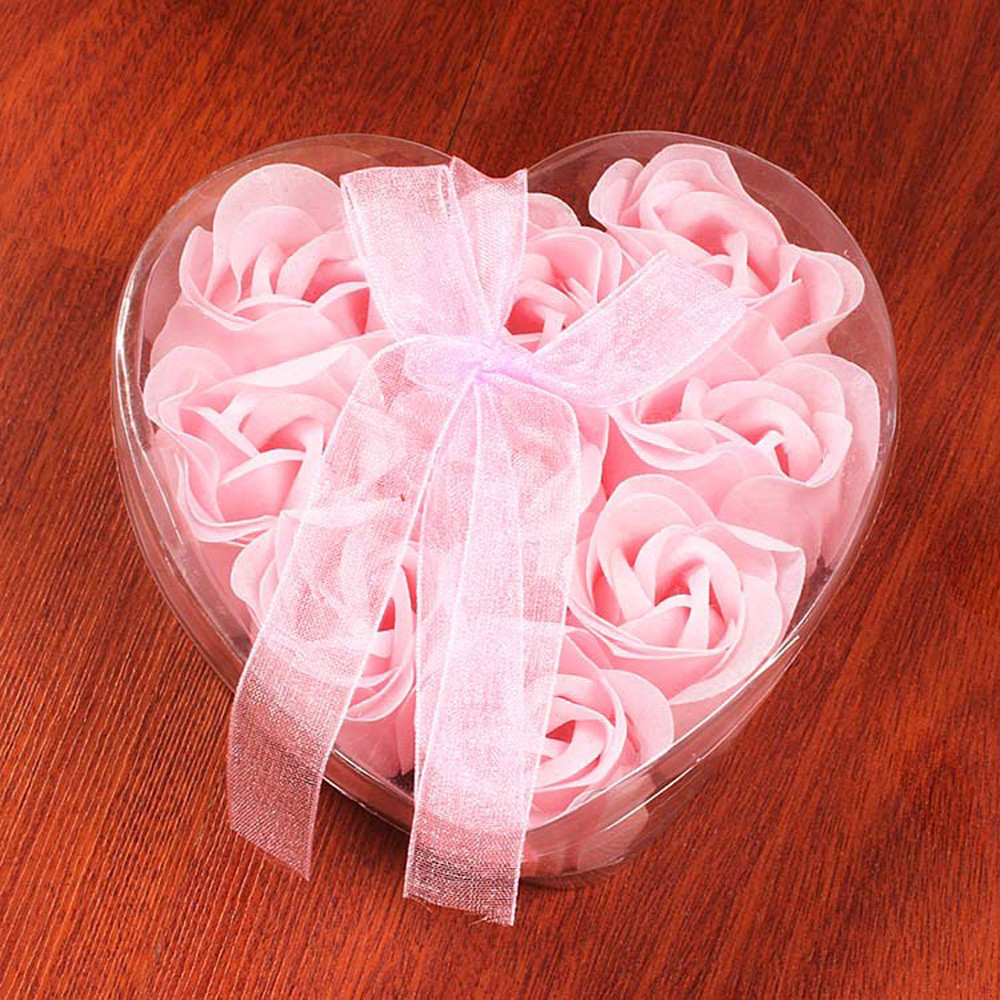 Mosunx 9Pcs Heart Scented Bath Body Petal Rose Flower Soap Wedding Decoration Gift Best
