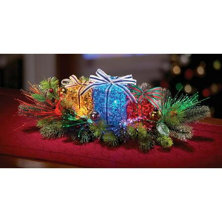 Lighted Gift Box Floral Christmas Centerpiece - Walmart.com
