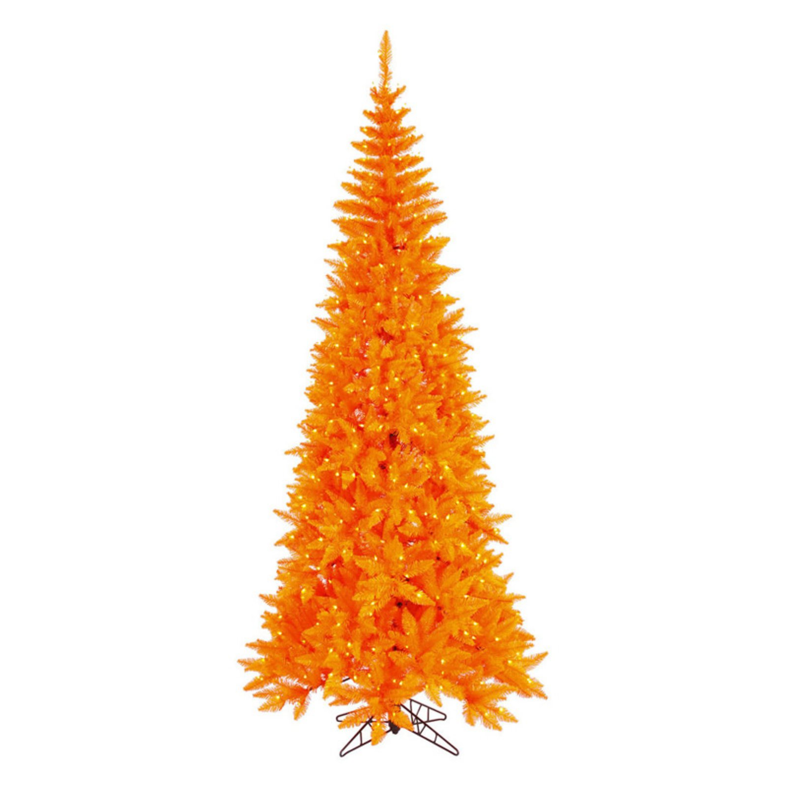 Vickerman Orange Slim Fir Pre-lit Christmas Tree