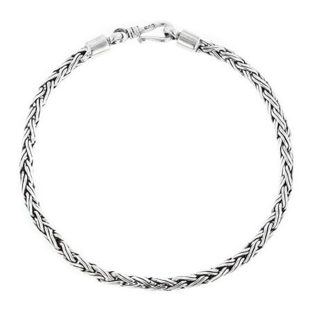 3mm Round Wheat Handmade Bali Oxidized 925 Sterling Silver Chain Anklet