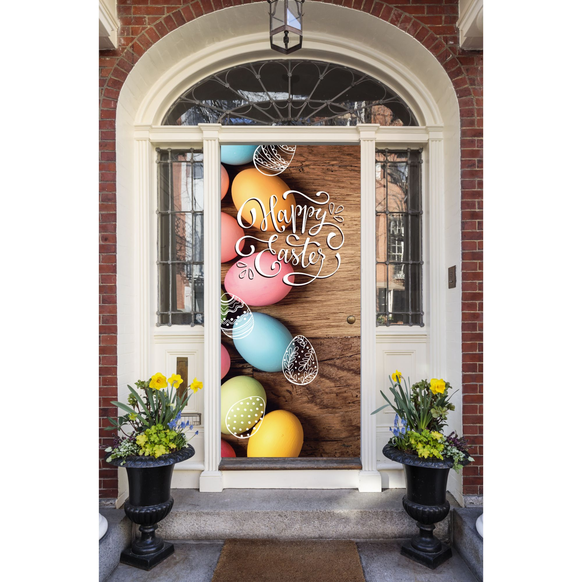My Door Decor 9EAST-9 9 x 9 in. Happy Easter Eggs Holiday Front  Door Mural Sign Banner Decor, Multi Color