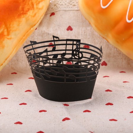 Musical Notes Decorations (WALFRONT 50Pcs Cupcake Papper Wrapper Musical Notes Hollow Out Wedding Birthday Party Decoration, Cupcake Paper Wrapper, Hollow out Cupcake)