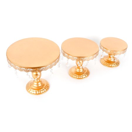 GHP Set of 3 Gold Iron Metal & Crystal Party Banquet Display Holder Dessert Stand