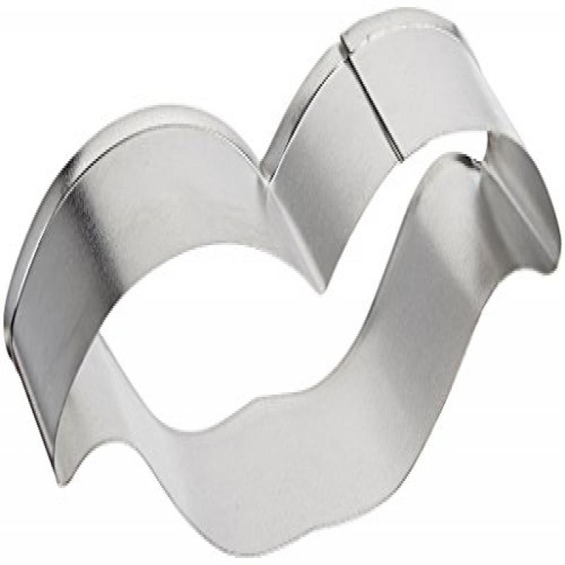 R & M Moustache Tinplated Cookie Cutter, 4-Inch, Silver