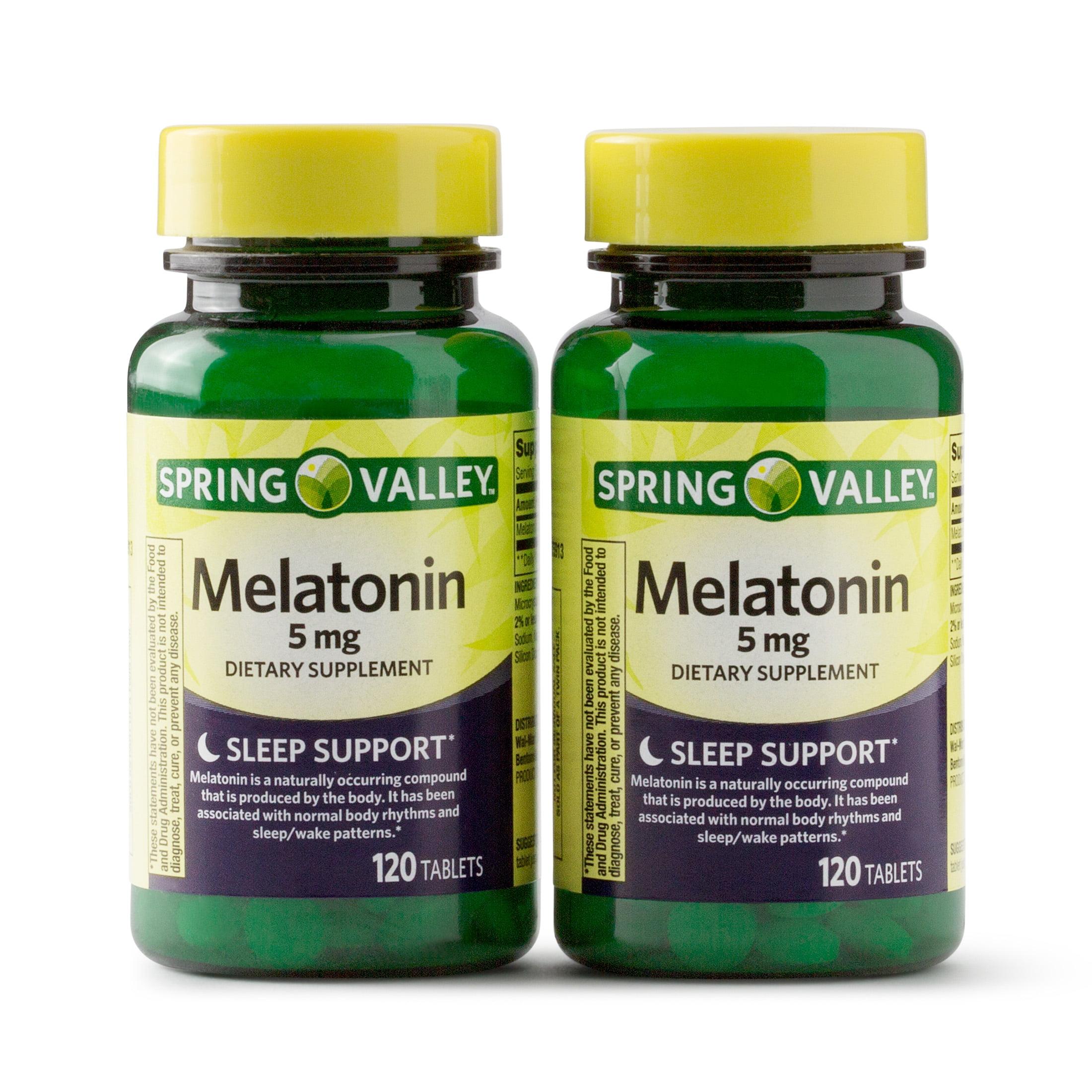 Spring Valley Melatonin Tablets, 5 mg, 120 Ct, 2 Pk