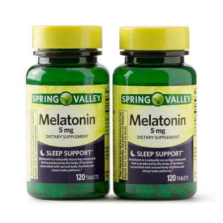 Spring Valley Melatonin Tablets, 5 mg, 120 Ct, 2 (Best Melatonin Brand For Sleep)