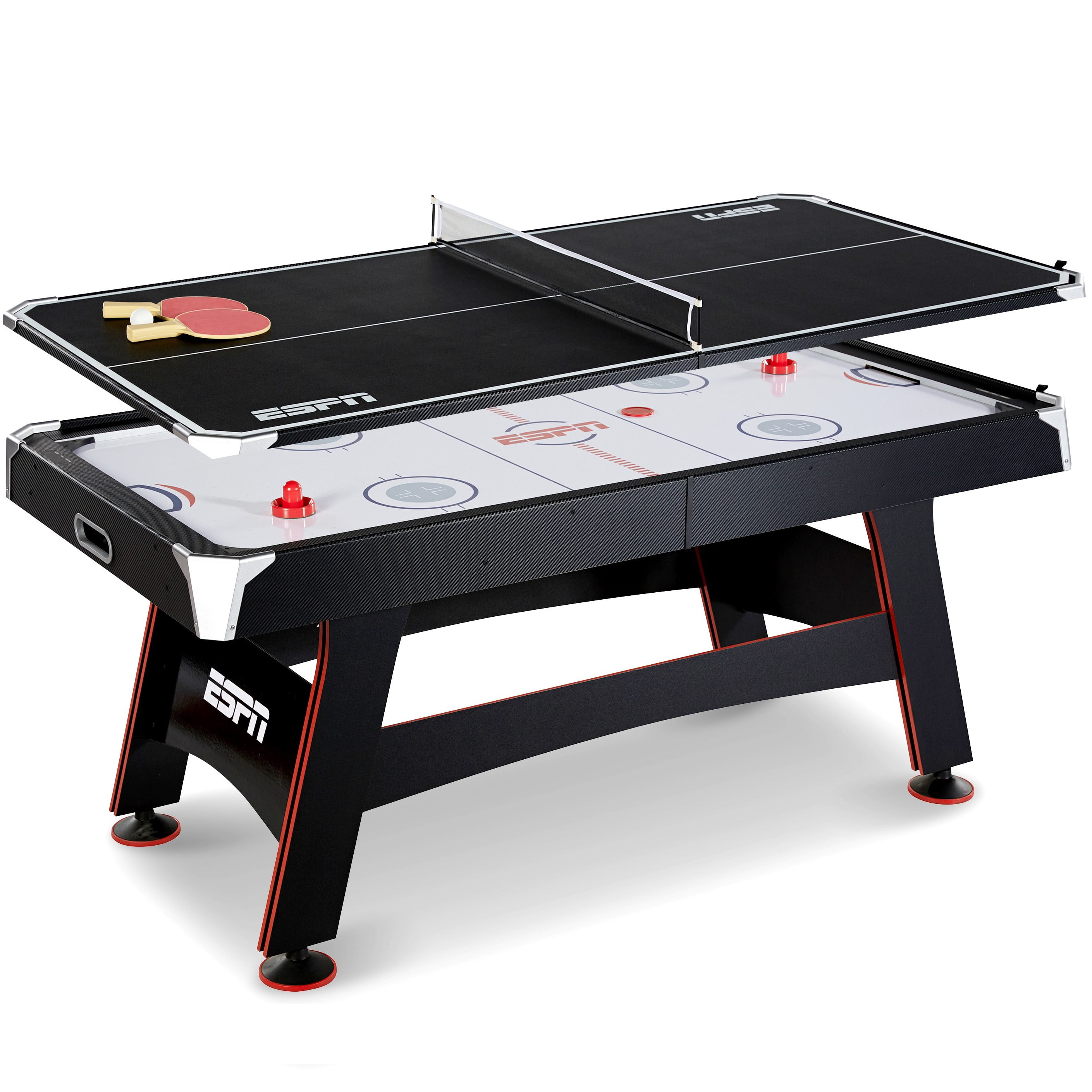 ESPN 72 Inch Air Powered Hockey Table with Table Tennis Top & In