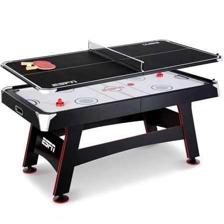 Escalade Hockey Game Table (ESPN 72 Inch Air Powered Hockey Table with Table Tennis Top & In-Rail Scorer, New and Improved production Fall 2018, Includes Paddle and Ping Pong Balls, Pushers and Pucks, 6 Ft, Black & Red)
