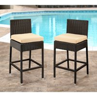 Abbyson Kiley Wicker Outdoor Bar Stools with Cushions - Set of 2