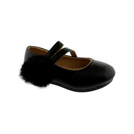 Kate Girls Black Double Strap Pom-Pom Mary Jane Shoes