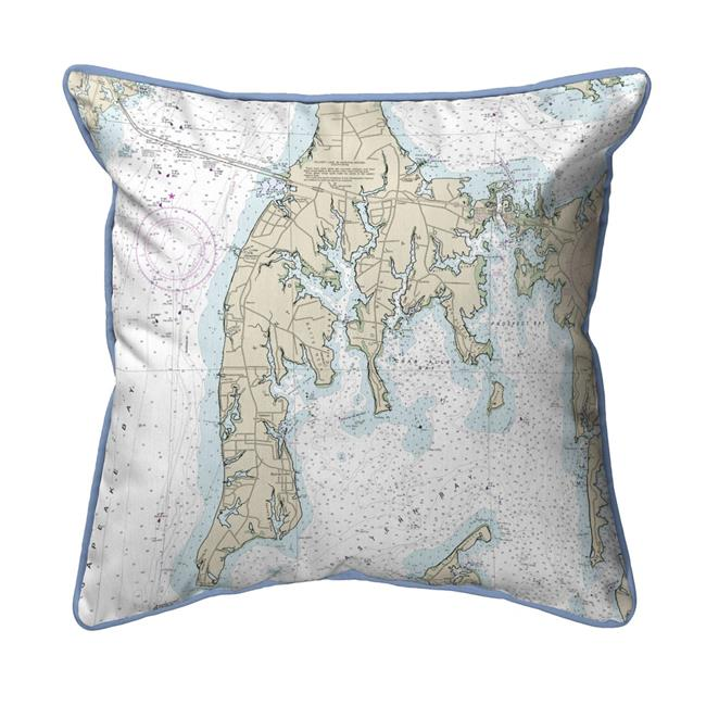 Betsy Drake HJ12270OKI Kent Island, MD Nautical Map Large Corded Indoor & Outdoor Pillow - 18 x 18 in. - image 1 of 1
