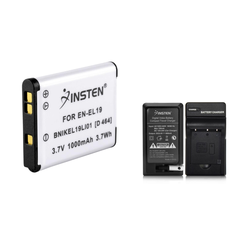 Insten EN-EL19 Battery + Car/Travel Charger for Nikon Coolpix S2500 S3100 S3300