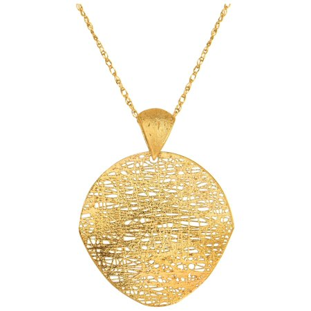 (Finejewelers 14 Kt Yellow Gold 18 Inch Cable Chain Link 35mm Twisted Flat Curve Round Flat Mesh Type Pendant Necklace Ne)
