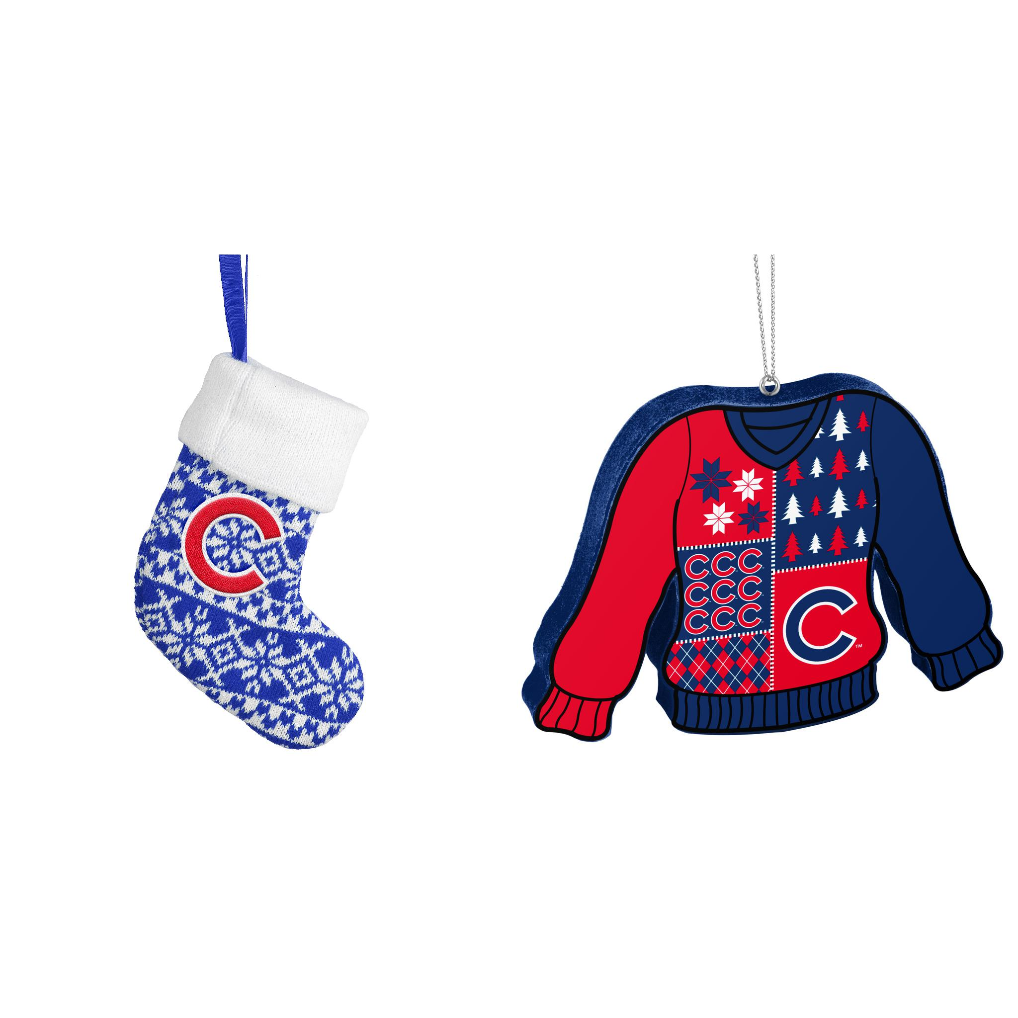 Mlb Chicago Cubs Ornament Stocking Knit Foam Ugly Sweater Christmas