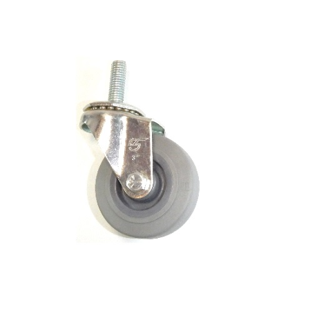 "(1) Durable Stem Caster 3""x7/8"" Soft Wheel (1/2"" Threaded Stem) w/ (95# Cap)"