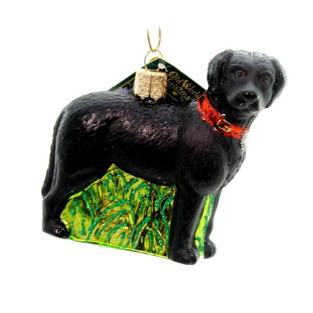 Old World Christmas STANDING BLACK LAB Glass Mans Best Friend