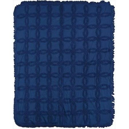 Charlotte Home Furnishings WW-8736-12249 Vintage Tufted Navy Afghan Throw, Blue - image 1 de 1
