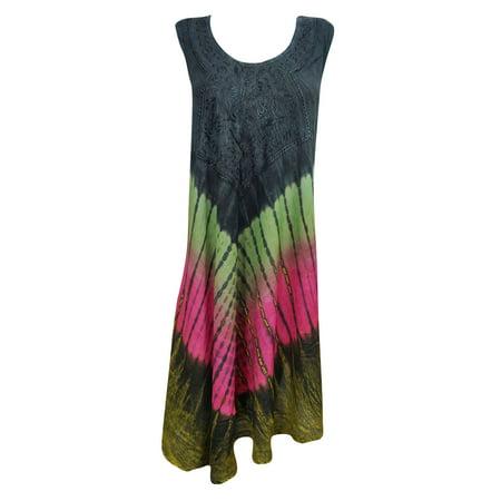 Mogul Tie Dye Tank Dress Knee-Long Rayon Cover Up Sleeveless Evening (Rayban Collection)