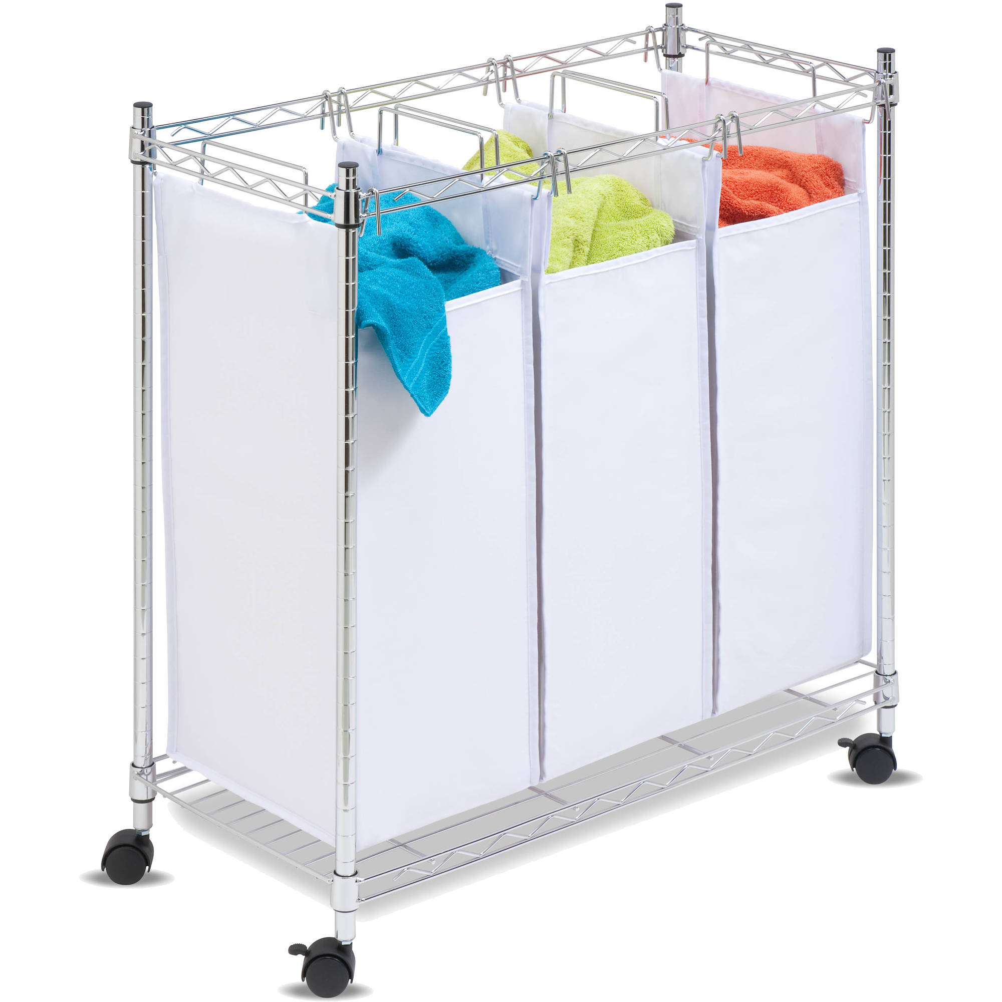 Honey Can Do Urban Laundry Sorter with 3 Bags and Rollers, White/Chrome