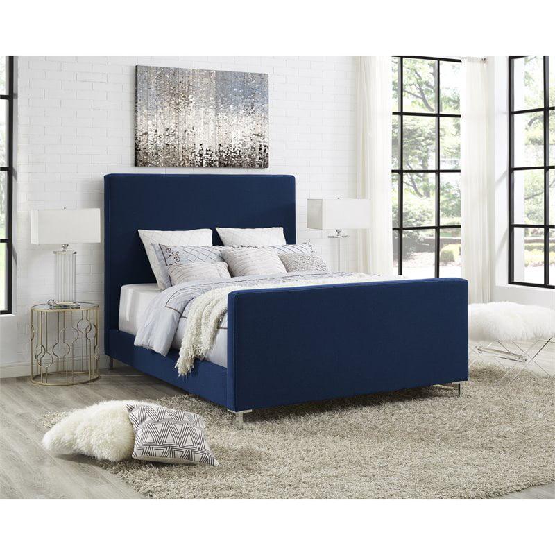 Alex Blue Linen Platform Bed Frame - Queen Size - Upholstered - Tufted