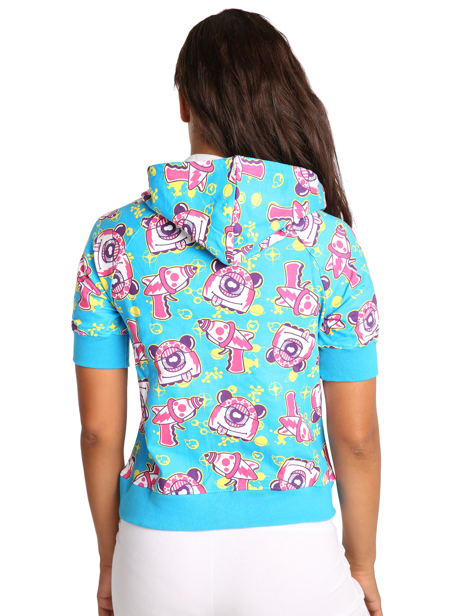 Sweet Vibes Junior Womens Hoodie Robot Print Stretch French Terry Zip Up Sweater