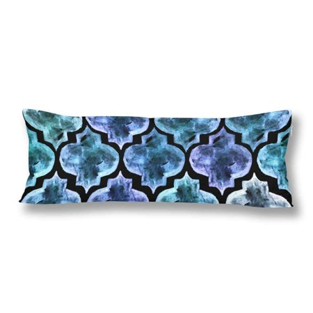GCKG Moroccan Style Tile Quatrefoil Pattern Body Pillow Covers Case Protector 20x60 inches - image 1 of 2