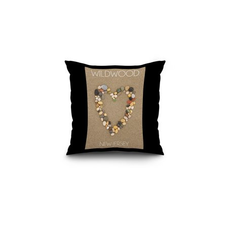 Wildwood, New Jersey - Stone Heart on Sand - Lantern Press Photography (16x16 Spun Polyester Pillow, Black Border)