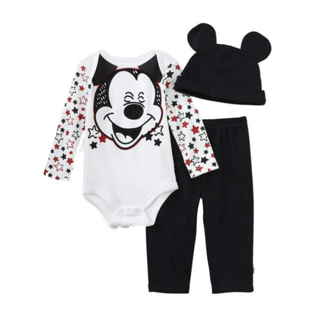 Disney Infant Boys Laughing Mickey Mouse Stars Baby Outfit Beanie Hat Set - Mickey Mouse Outfit
