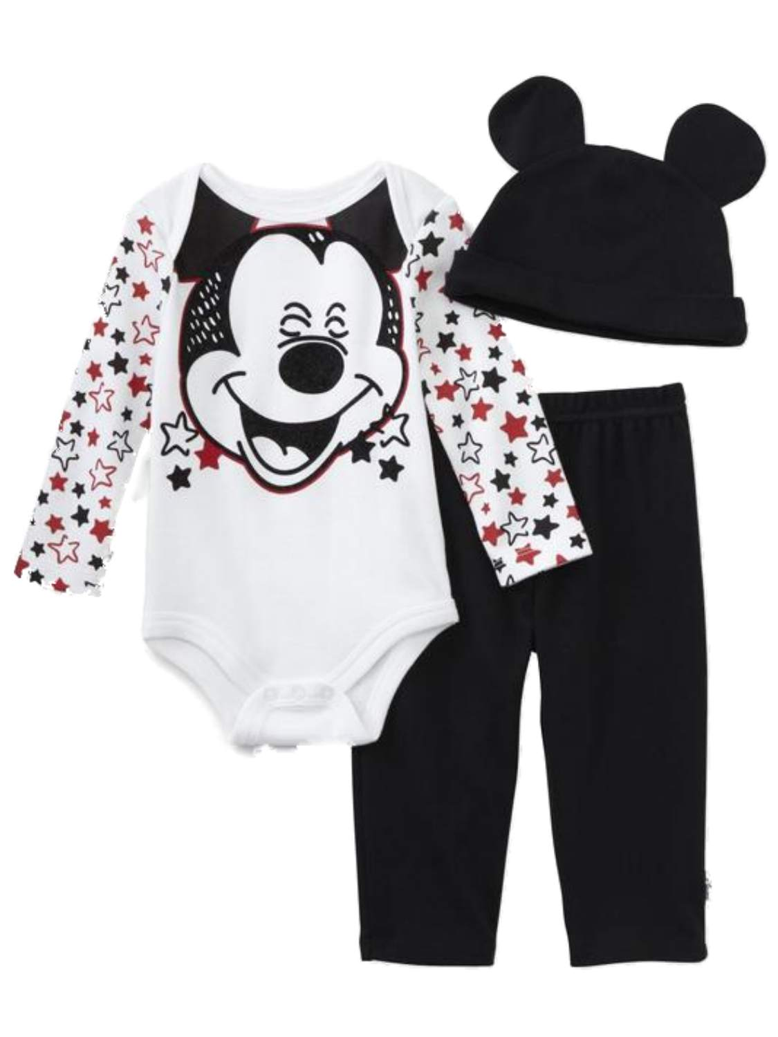 Disney Infant Boys Laughing Mickey Mouse Stars Baby Outfit Beanie Hat Set