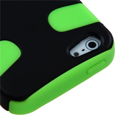Insten Rubberized Black/Electric Green Fishbone Phone Case for Apple iPhone SE / 5S / 5