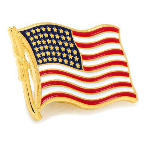 Cufflinks Inc Waving American Flag Lapel Pin