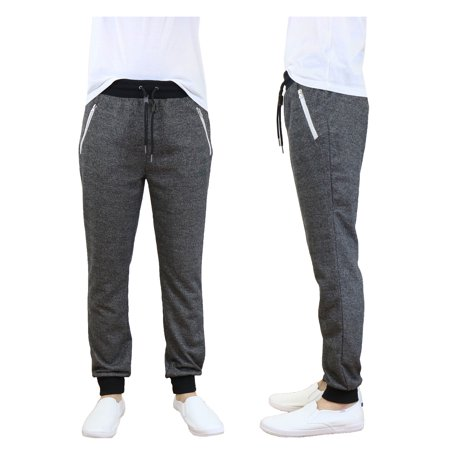 Men's Slim-Fit French Terry Jogger Sweatpants With Zipper (Gray Workout Pants)