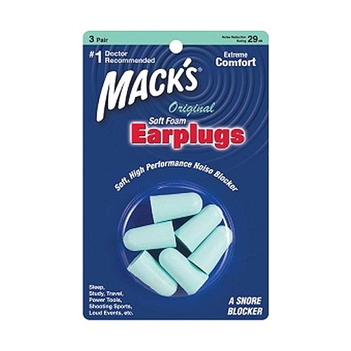 Macks Original Soft Foam Earplugs, A Snore Blocker - 3 Pair