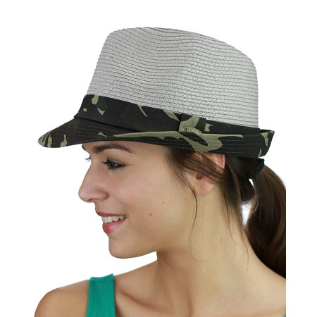 - C.C. Unisex Camouflage Band and Brim Weaved Fedora Trilby Hat, Gray