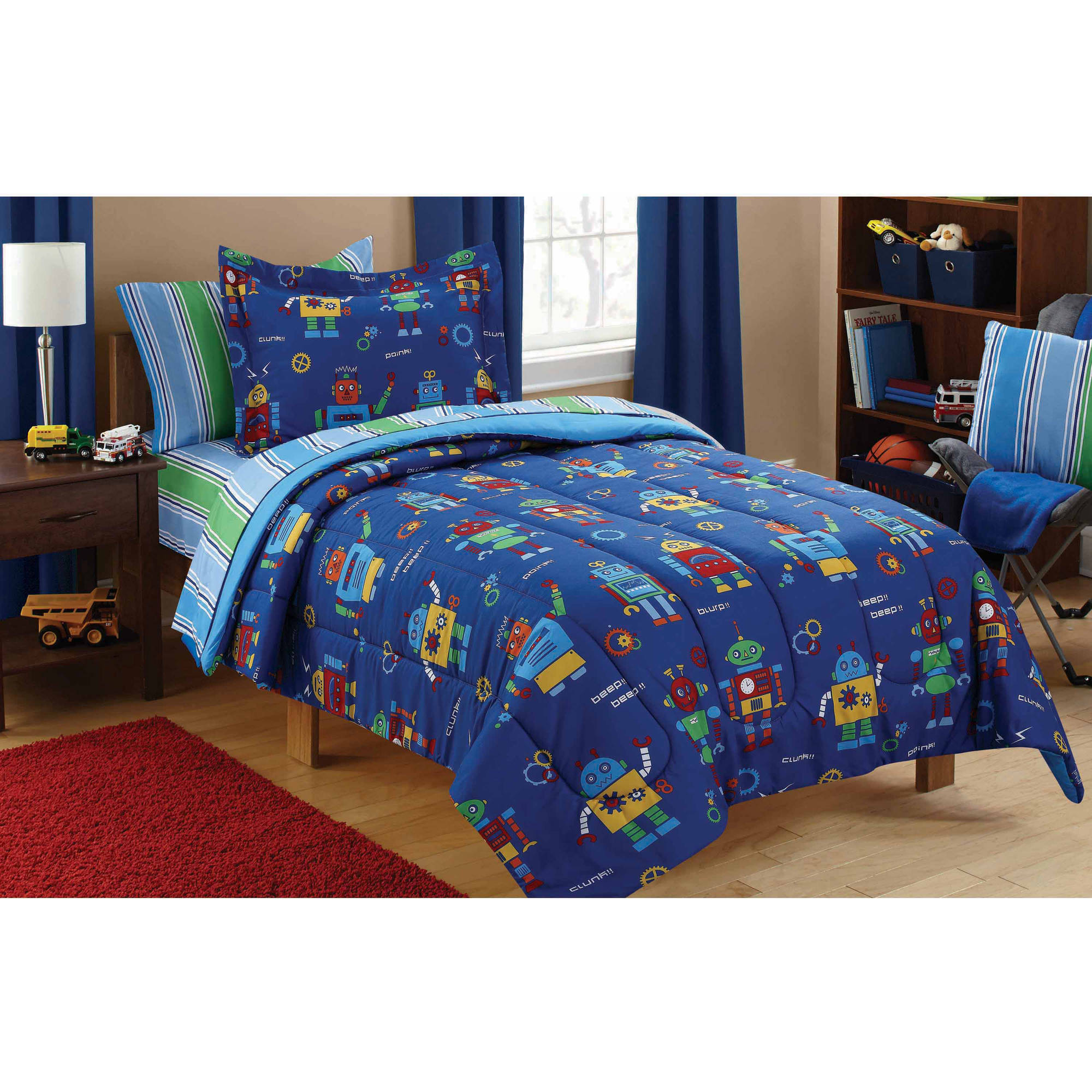 Mainstays Kids Robots Bed in a Bag Coordinating Bedding Set
