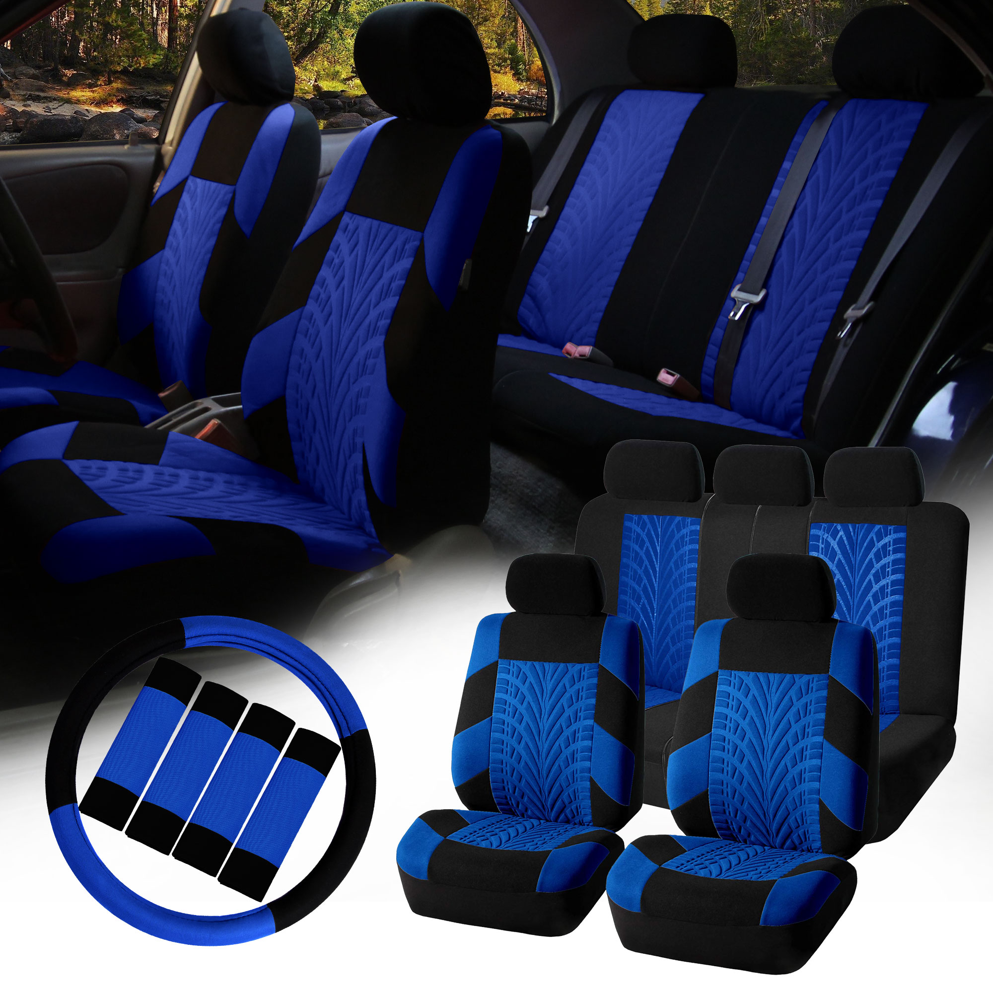 FH Group Car Seat Covers Travel Master for Sedan, SUV, Van, Full Set w/ Steering Cover & Belt Pads, Blue Black