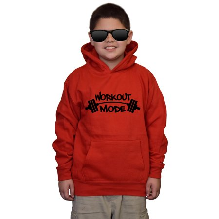 Youth Workout Mode V122 Red kids Sweatshirt Hoodie XLarge