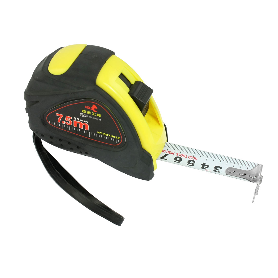 7.5M x 25mm Retractable Flexible Tape Magnetic Measure Ruler Black Yellow