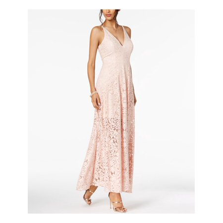XSCAPE Womens Pink Lace Embellished Darted Sleeveless V Neck Maxi Empire Waist Formal Dress  Size: 14 Empire Waist Bow
