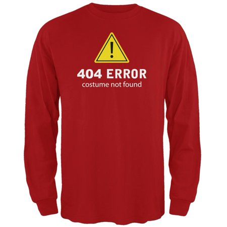 Halloween 404 Costume Not Found Red Adult Long Sleeve T-Shirt - How Was Halloween Founded