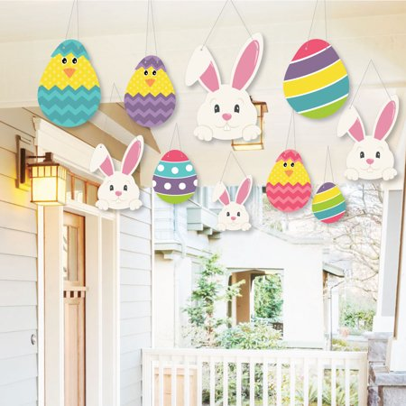 Hanging Hippity Hoppity - Outdoor Easter Bunny Party Hanging Porch & Tree Yard Decorations - 10 Pieces