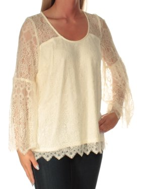KENSIE Womens Ivory Lace Long Sleeve Scoop Neck Top  Size: S