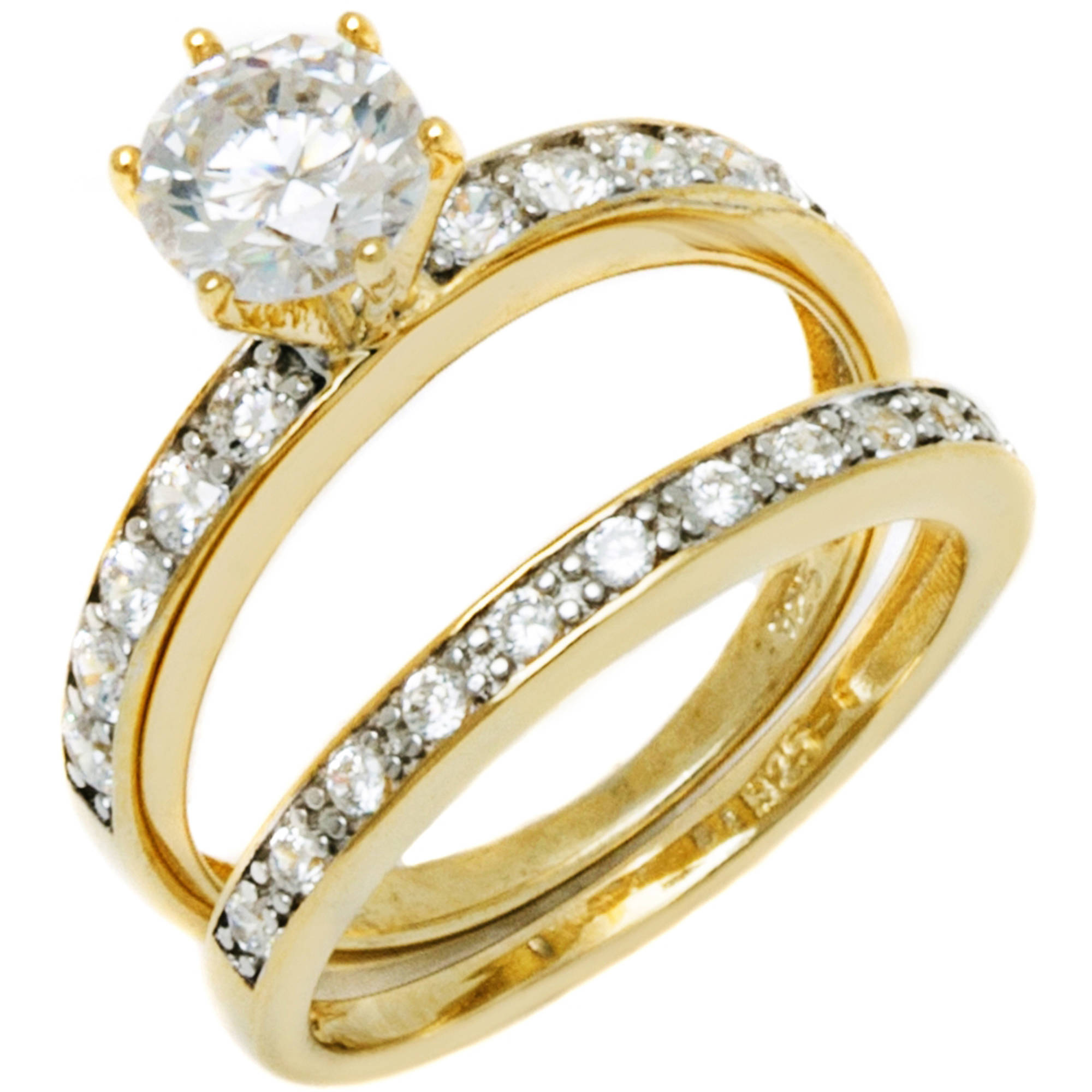 PORI Jewelers Round CZ 18kt Gold over Sterling Silver Solitaire 6-Prong Engagement Ring and Band Set, Available in 4 Sizes