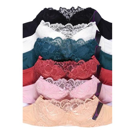 Sofra IN-BR4338FL-34B Womens Demi Cup Full Lace Bra, Assorted Color - Size 34B - Pack of 6