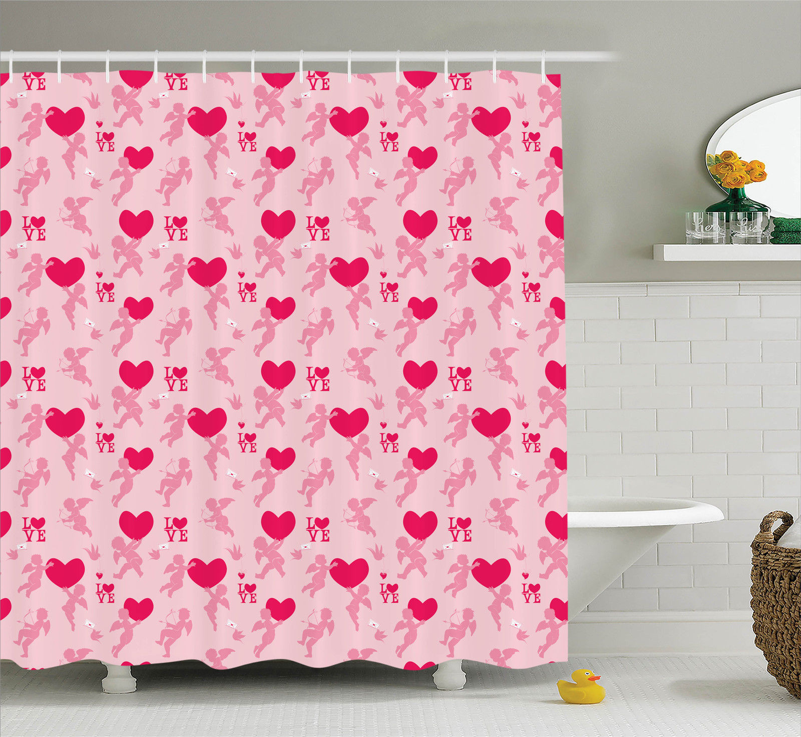 Love Decor  Pattern With Silhouettes Of Angel, Heart, Bir...