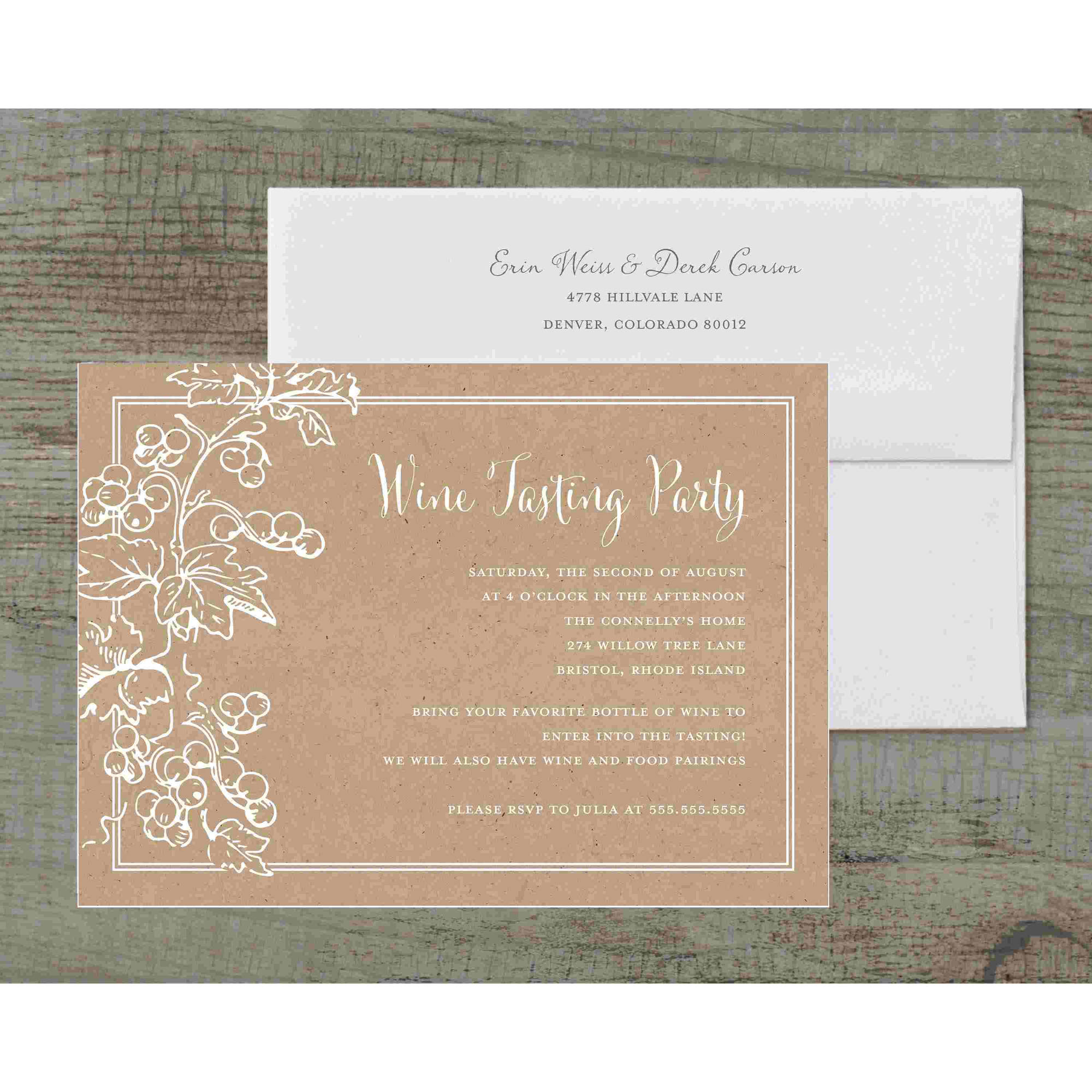 Vineyard Leaves Deluxe Party Invites