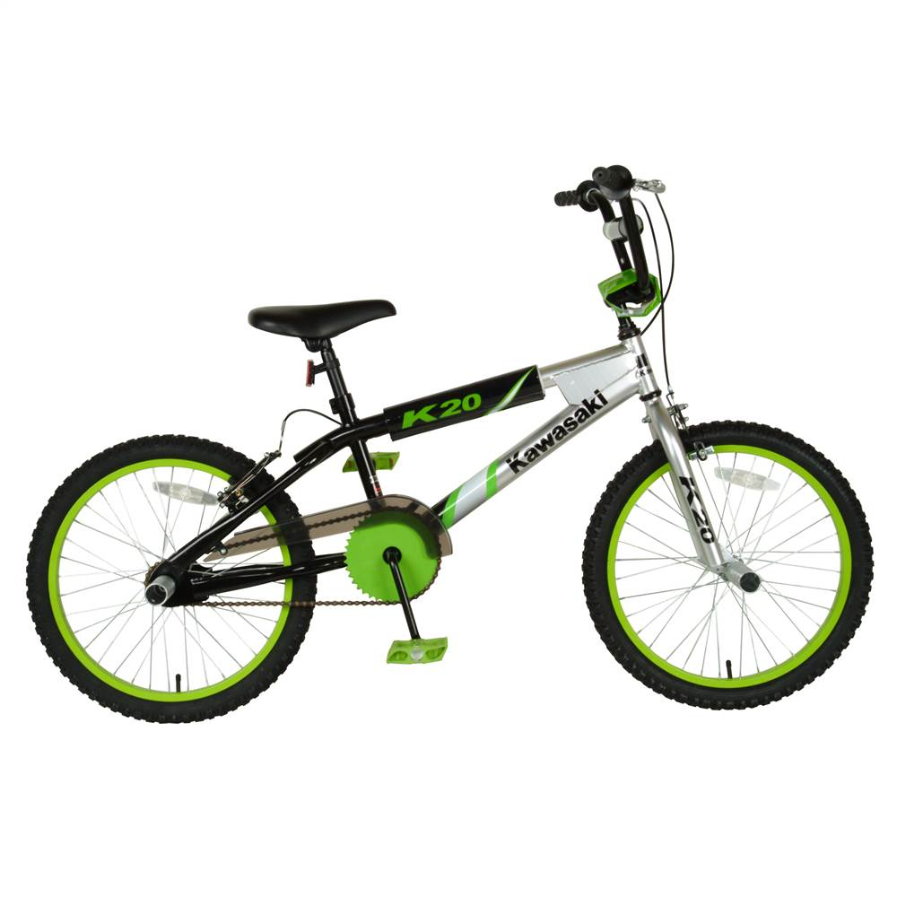 Boys' Kawasaki KX20 BMX Frame Bicycle w Black & Silver Frame